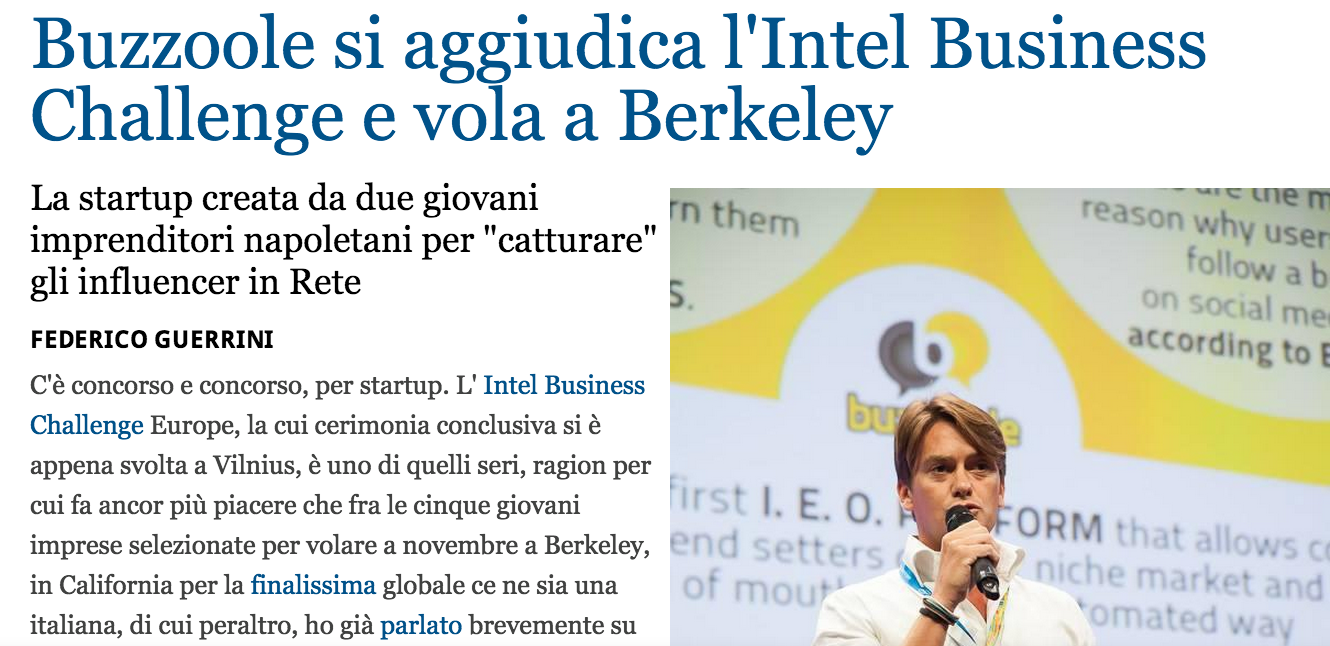 Intel Global Challenge: Buzzoole among the first 8 worldwide startups!