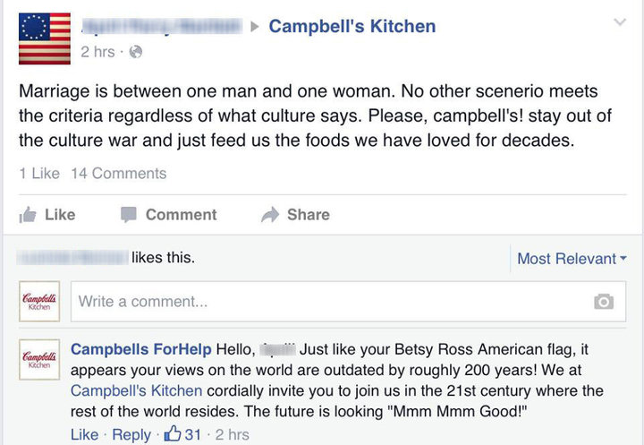 screenshot of fb profile of Campbell's soup
