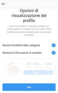 Come passare al profilo creator, informazioni contatto
