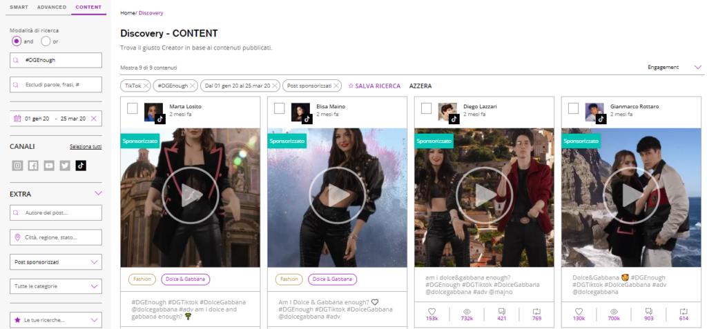 ricerca TikTok influencer per contenuti