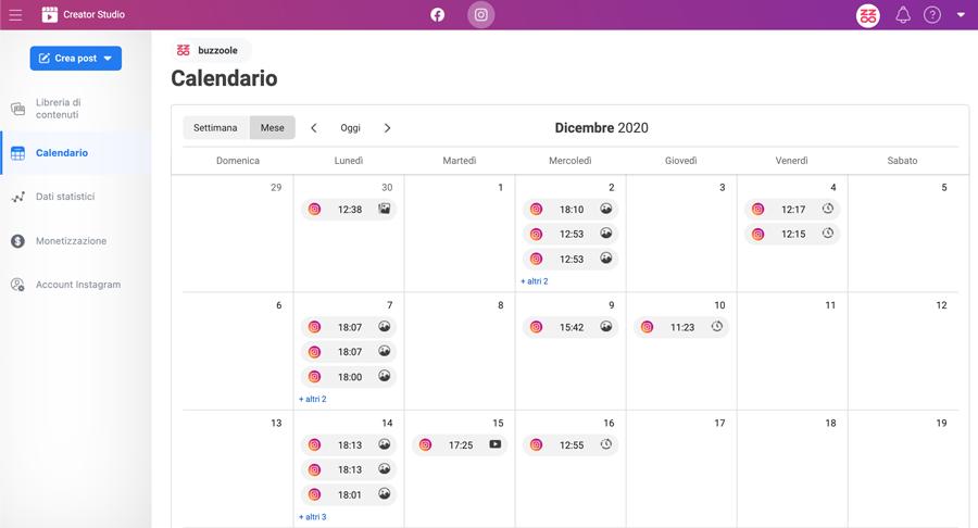 calendario editoriale instagram creator studio