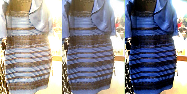 The original image is in the middle. At left, white-balanced as if the dress is white-gold. At right, white-balanced to blue-black (source).